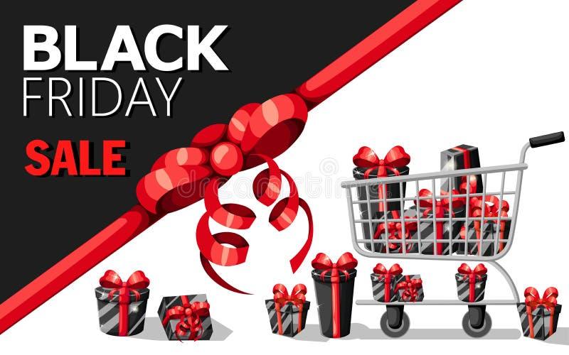 Mall för design för Black Friday försäljningsinskrift Svart fredag baner Den vektorillustrationSale affischen med skinande ballon royaltyfri illustrationer