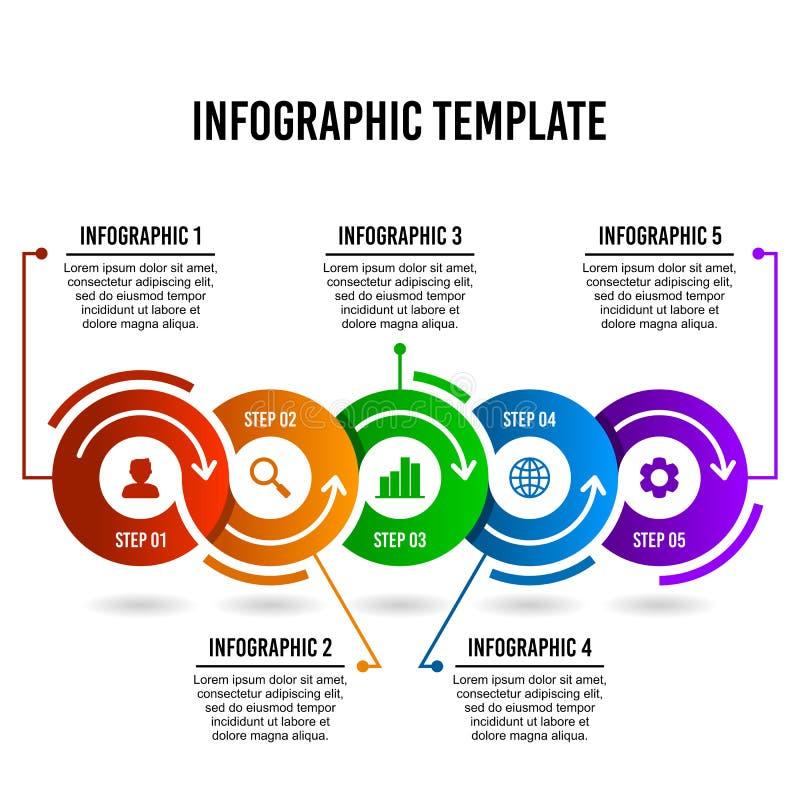 Mall för design för cirkelmoment infographic stock illustrationer