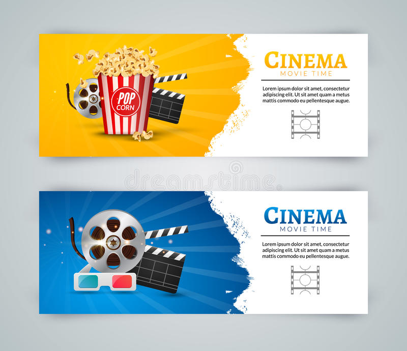Mall för design för affisch för biofilmbaner Filmclapper, 3D exponeringsglas, popcorn Biobanerorientering stock illustrationer
