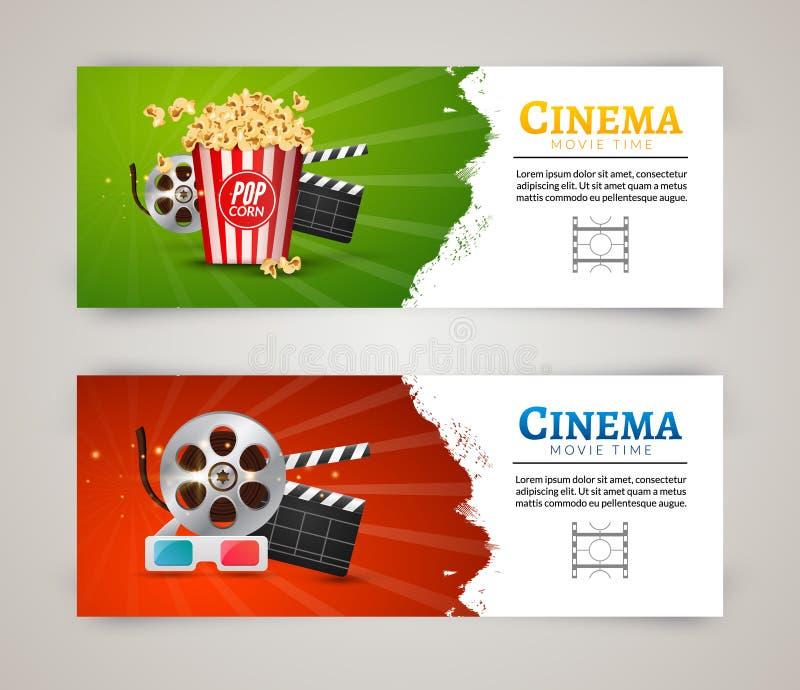Mall för design för affisch för biofilmbaner Filmclapper, 3D exponeringsglas, popcorn Biobanerorientering vektor illustrationer