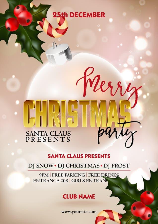 Mall för design för affisch för parti för glad jul med garneringbollen och järnekbäret vektor illustrationer