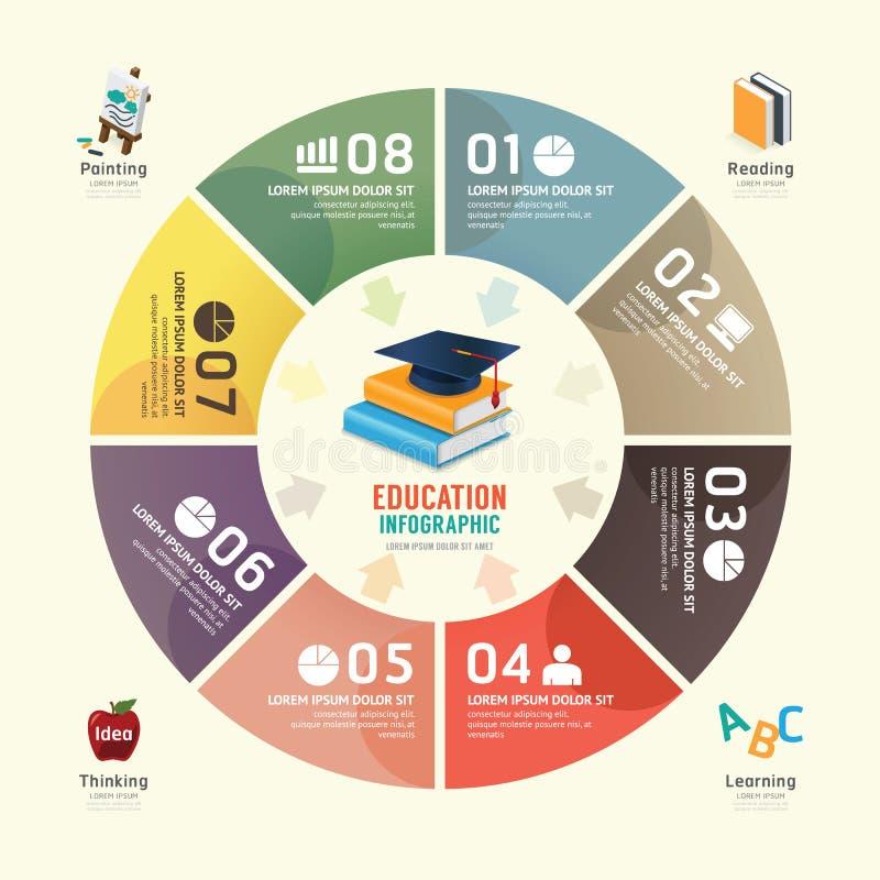Mall för design för avläggande av examen för utbildning för vektorcirkelinfographics royaltyfri illustrationer