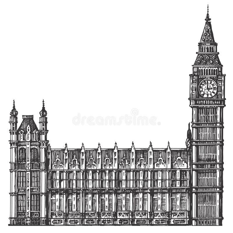 Mall för design för Big Ben vektorlogo London eller royaltyfri illustrationer