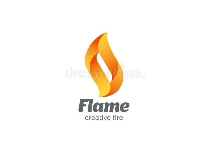 Mall för design för brandflammalogo Abstrakt elegant symbol för beståndsdellogotypbegrepp royaltyfri illustrationer