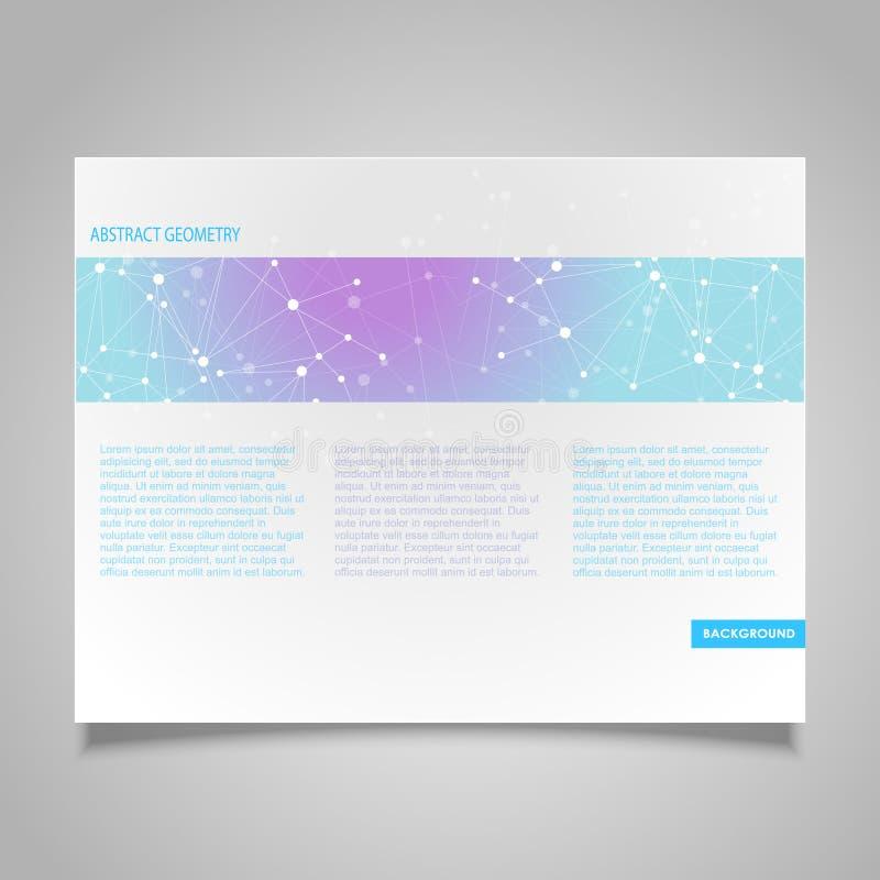 Mall för design för broschyrsidavektor med tema för anslutning för abstrakt begreppblått molekylärt vektor illustrationer