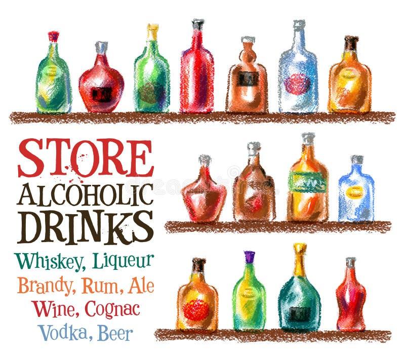 Mall för design för drinkvektorlogo whisky vin vektor illustrationer
