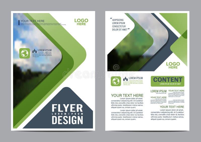 Mall för design för grönskabroschyrorientering stock illustrationer