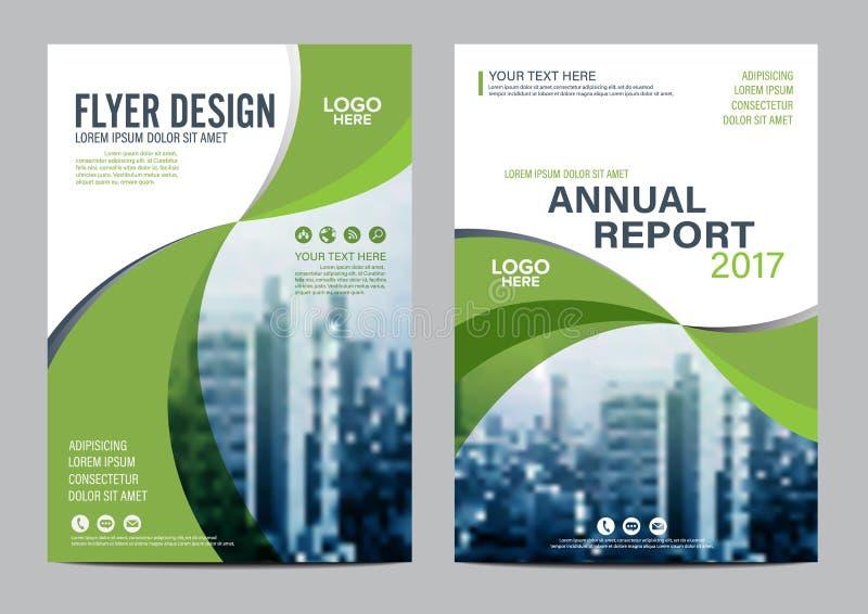 Mall för design för grönskabroschyrorientering Presentation för räkning för årsrapportreklambladbroschyr vektor illustrationer