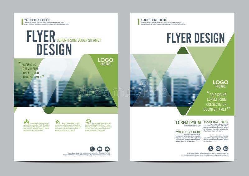 Mall för design för grönskabroschyrorientering Presentation för räkning för årsrapportreklambladbroschyr stock illustrationer