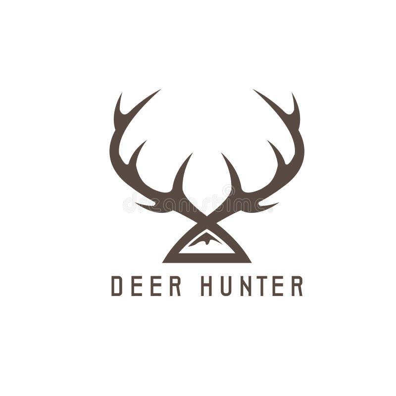 Mall för design för hjorthornvektor som jagar stock illustrationer