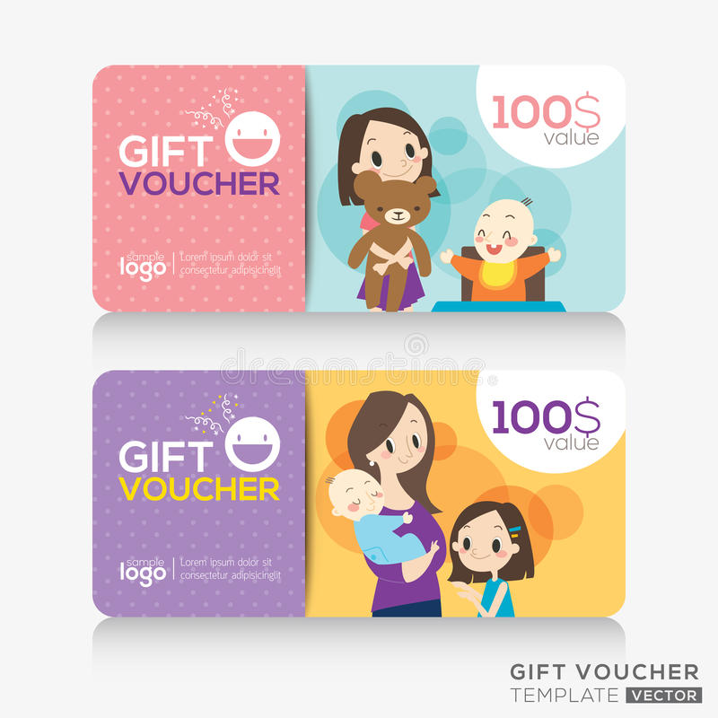 mall för design för kort för för supermarketkupongkupong eller gåva stock illustrationer
