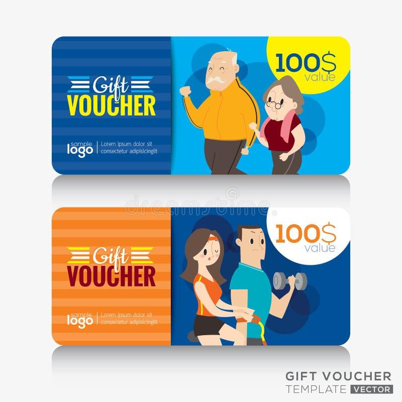 Mall för design för kort för kupong eller för gåva för kupong för idrottshall för konditionmitt royaltyfri illustrationer