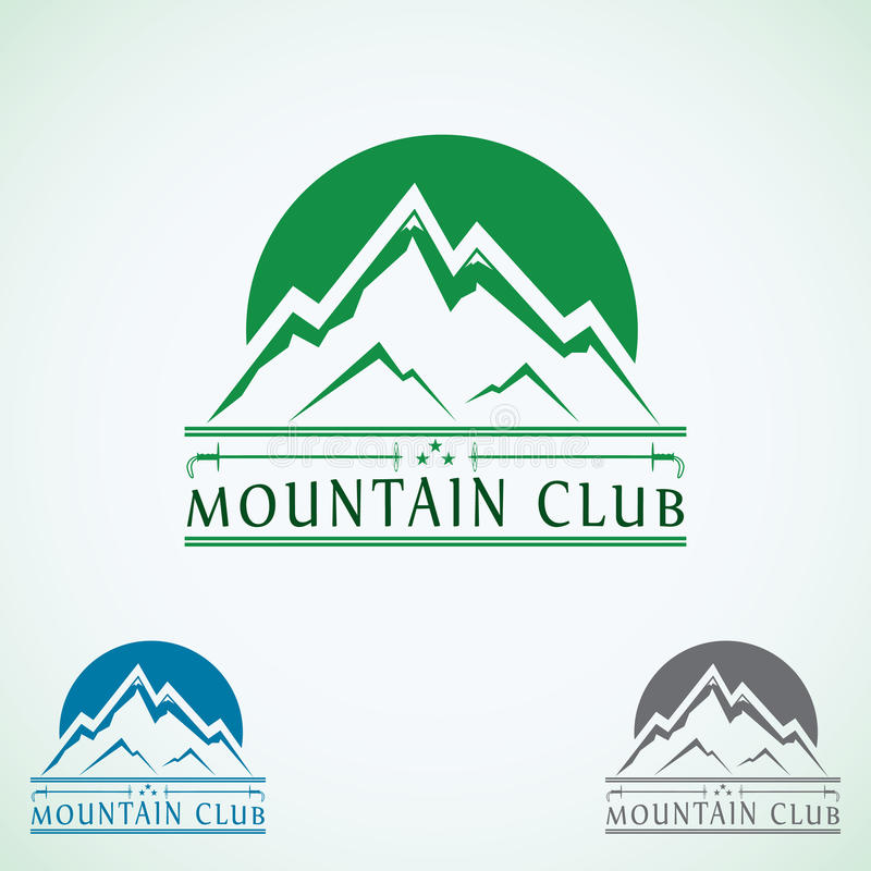 Mall för design för logo för bergtappningvektor, grön turismsymbol royaltyfri illustrationer