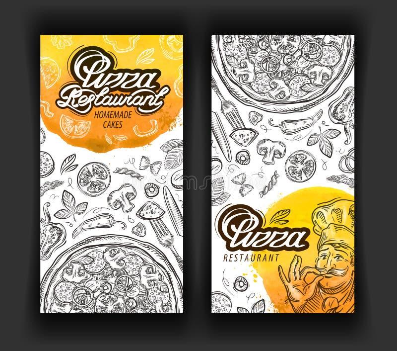 Mall för design för logo för pizzarestaurangvektor eatery, matställe eller kokkonstsymboler stock illustrationer