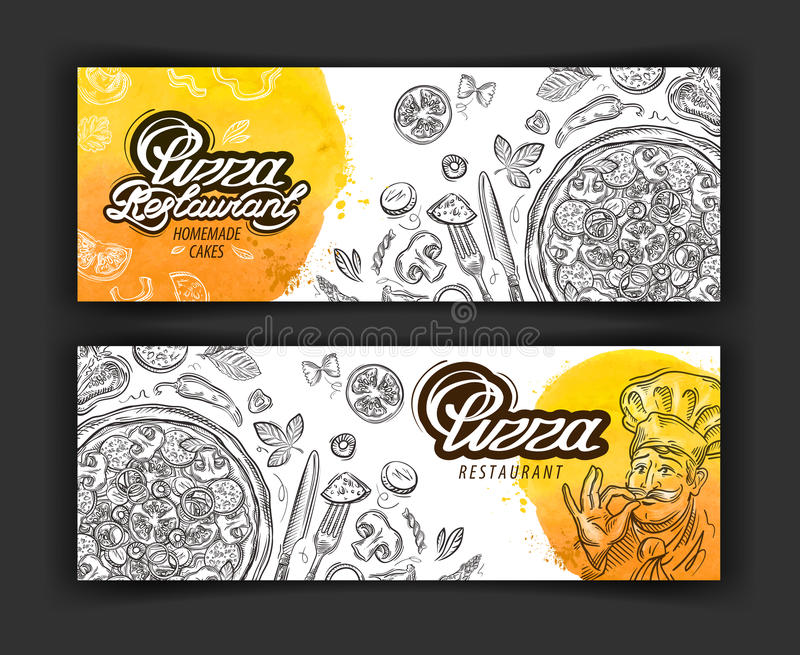 Mall för design för logo för pizzarestaurangvektor eatery, matställe eller matlagningsymboler royaltyfri illustrationer