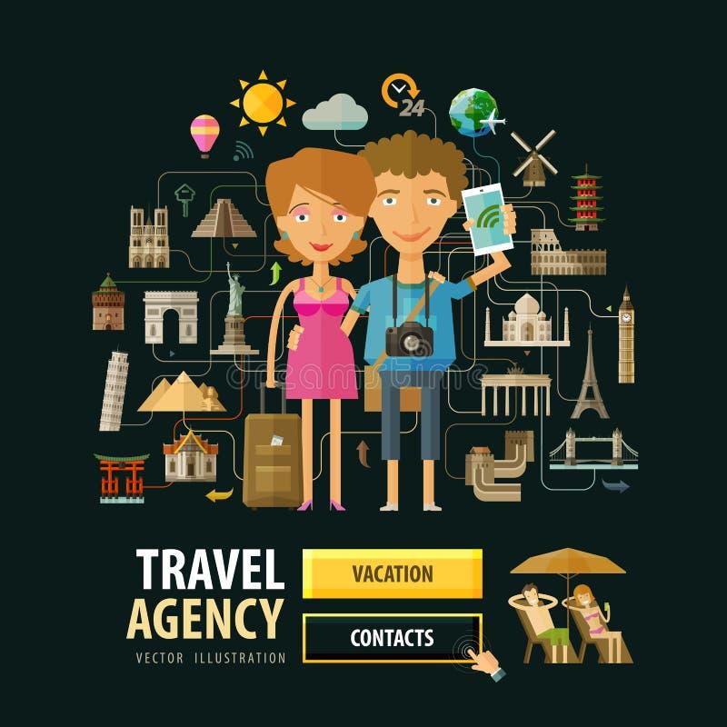 Mall för design för logo för vektor för loppbyrå royaltyfri illustrationer
