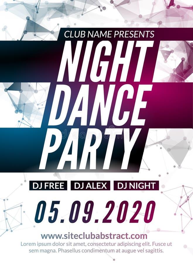 Mall för design för nattdansparti i polygonal stil Händelse för klubbadansparti Befordrings- discjockeymusikaffisch vektor illustrationer