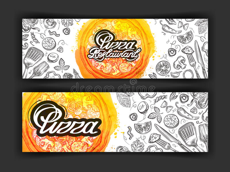 Mall för design för pizzavektorlogo eatery-, matställe- eller restaurangsymboler stock illustrationer