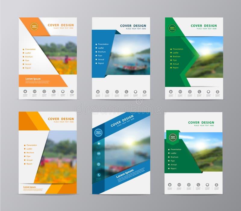 Mall för design för reklamblad för vektorårsrapportbroschyr stock illustrationer