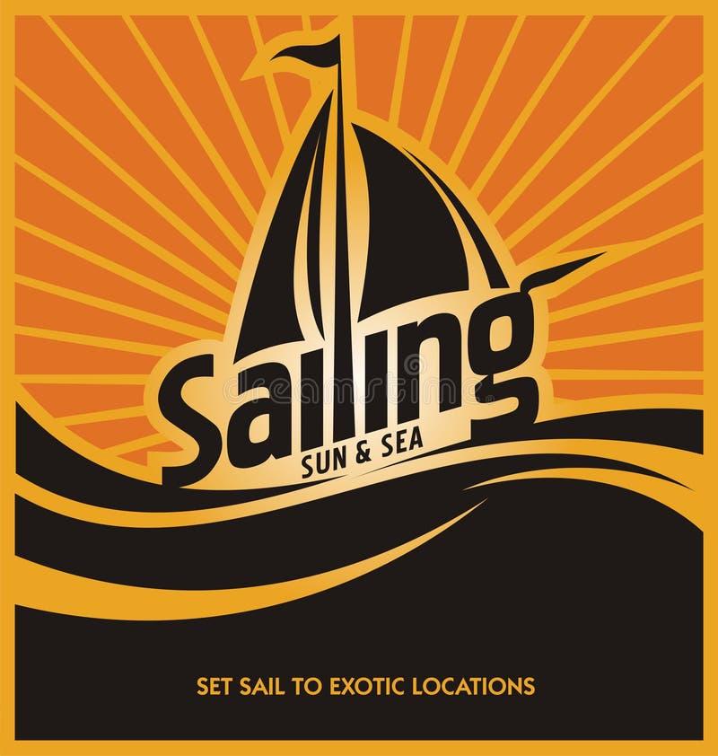 Mall för design för seglingaffischvektor royaltyfri illustrationer