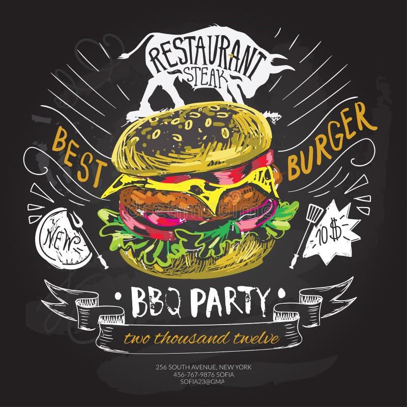 Mall för design för snabbmatvektorlogo hamburgare-, hamburgare- eller menybrädesymbol stock illustrationer