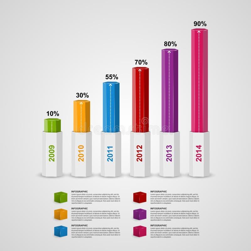mall för design för stil för diagram 3D infographic stock illustrationer