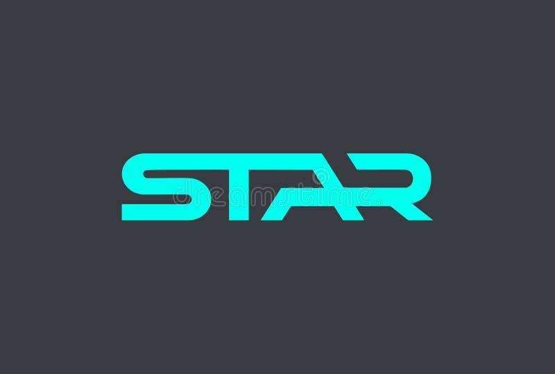 Mall för design för stjärnatextlogo Modern hitechbokstäver vektor illustrationer
