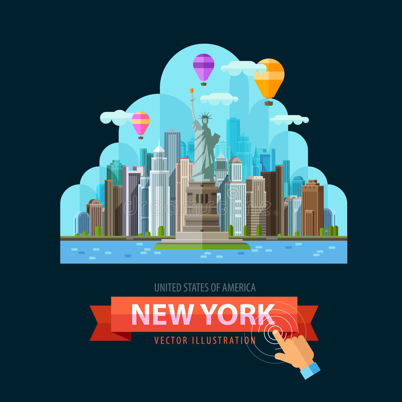 Mall för design för USA vektorlogo New York City eller stock illustrationer