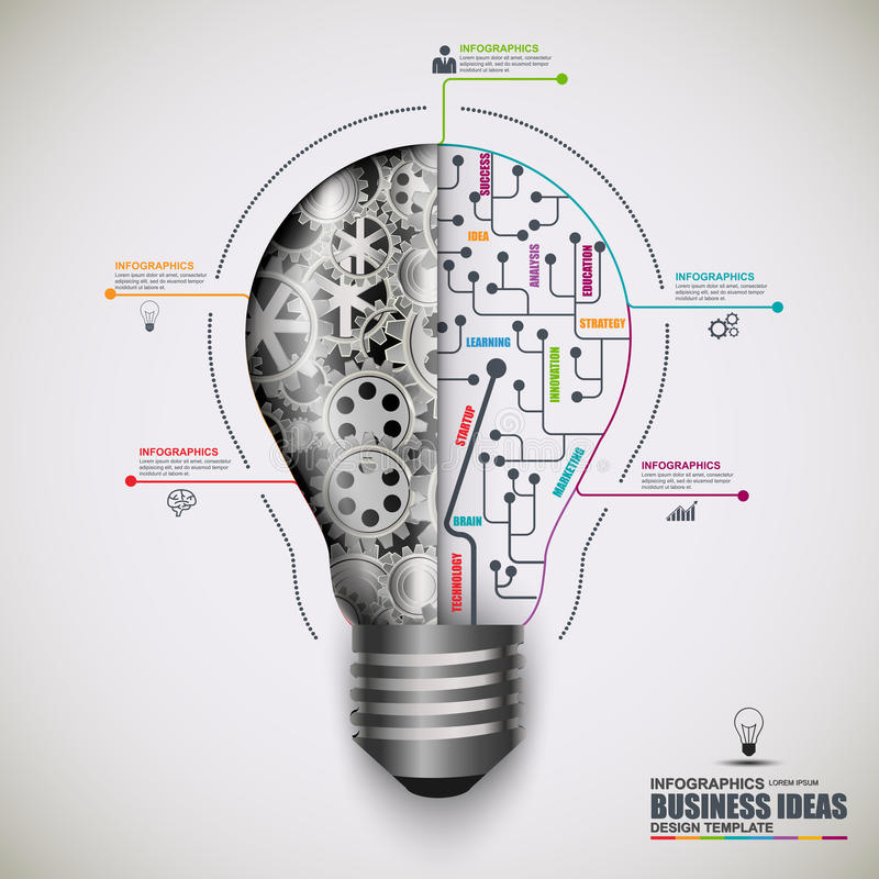 Mall för design för vektor för ljus kula för Infographic affär royaltyfri illustrationer