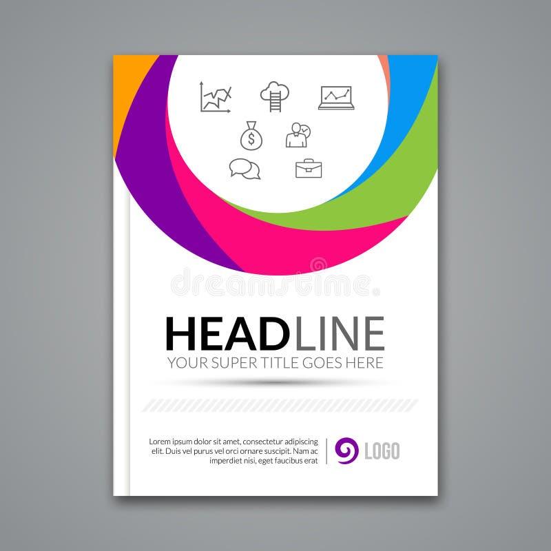 Mall för design för vektoraffischreklamblad Abstrakt färgrik cirkelaffärsbakgrund för affärsreklamblad, affischer och royaltyfri illustrationer