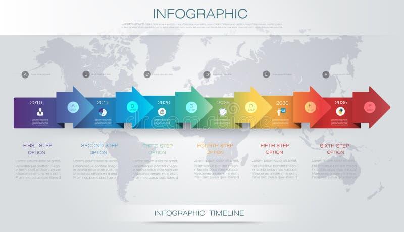 Mall för design för vektorinfographicstimeline med etiketten för papper 3D stock illustrationer
