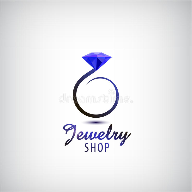 Mall för design för vektorsmyckenlogo Cirkelcirkel med den blåa stenen, kristall stock illustrationer