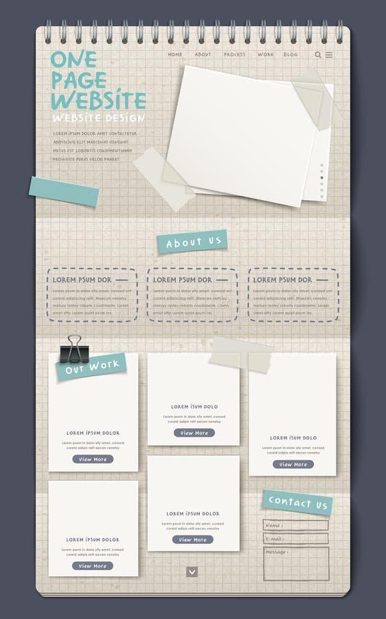Mall för design för website för sida för anteckningsbokstil en vektor illustrationer