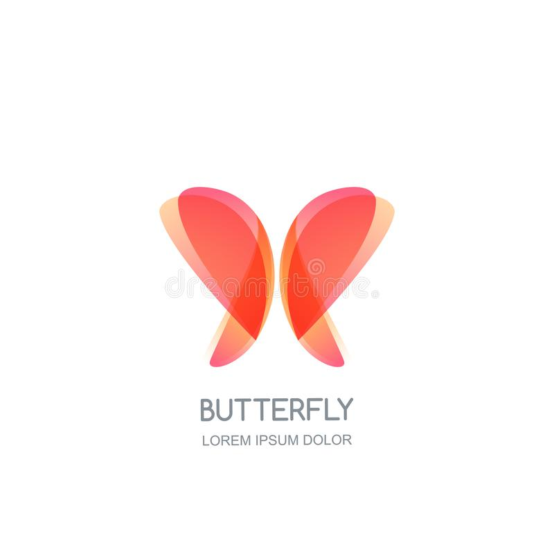 Mall för design för fjärilslogoemblem Vektorskönhetsymbol Den Spa salongen, skönhetsmedel brännmärker, smycken- eller tillbehörbe royaltyfri illustrationer