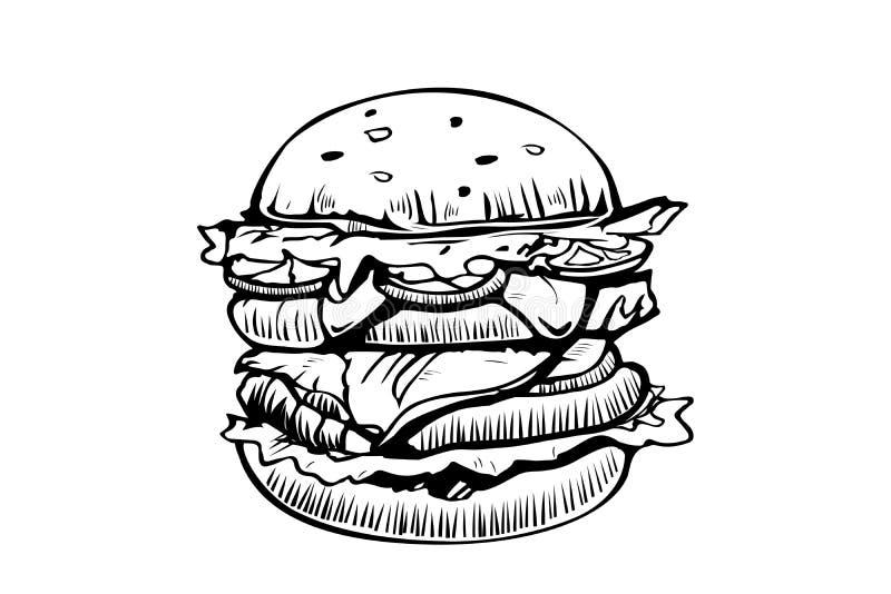 Mall för design för hamburgarevektorlogo snabbmat- eller restaurangsymbol Utdragen illustration för hand av hamburgarehamburgares royaltyfri illustrationer