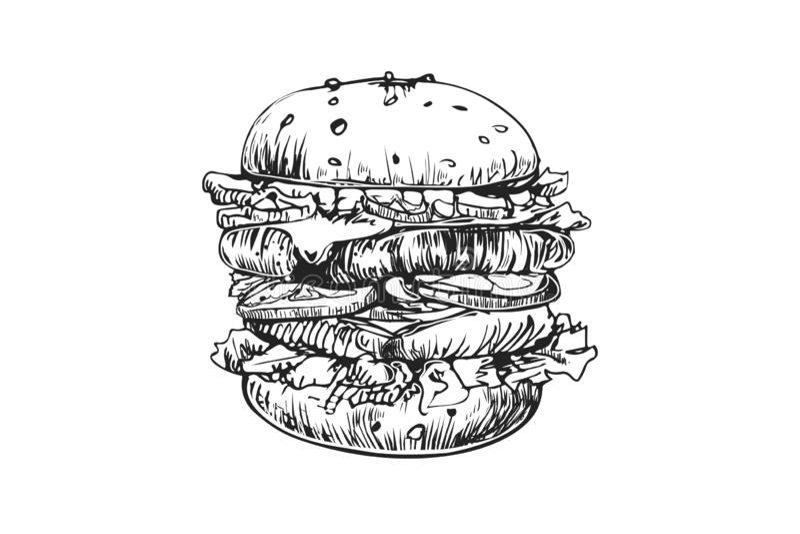 Mall för design för hamburgarevektorlogo snabbmat- eller restaurangsymbol Utdragen illustration för hand av hamburgarehamburgaren vektor illustrationer