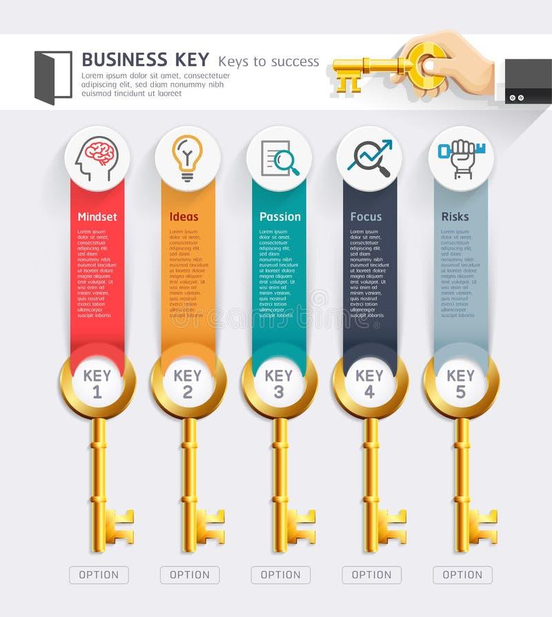 Mall för design för infographics för nyckel- begrepp för affär Vektor Illust royaltyfri illustrationer