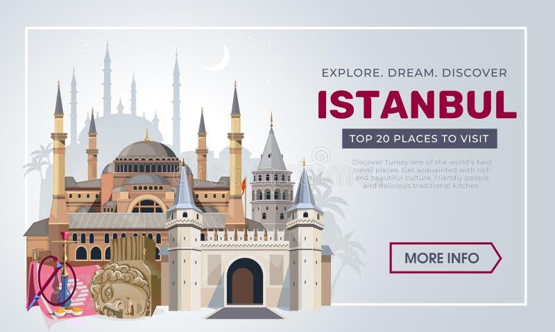 Mall för design för Istanbul loppbaner Turkiet semester och loppbegrepp Istanbul loppdestinationer Vektorlopp royaltyfri illustrationer