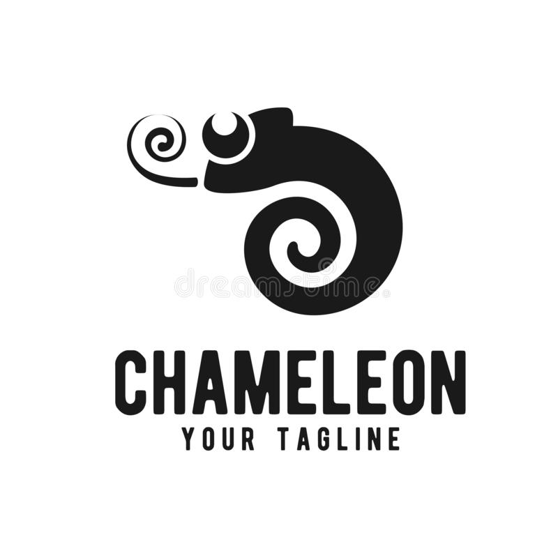 Mall för design för kameleontsymbolslogo vektor illustrationer