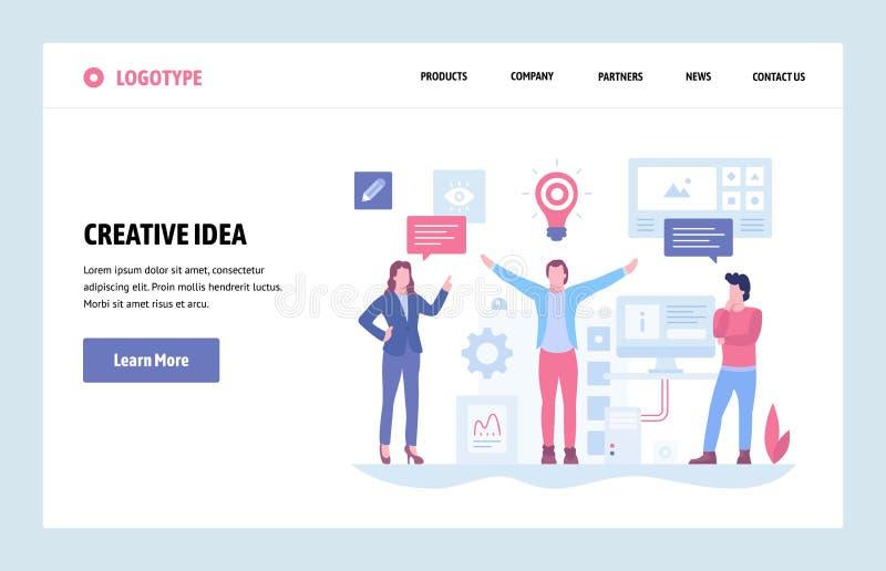 Mall för design för konst för vektorwebbplats linjär Idérik idé och affärslösningsbegrepp Landa sidan för website och royaltyfri illustrationer