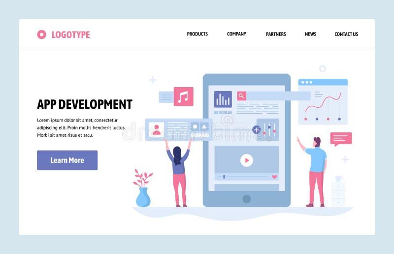 Mall för design för konst för vektorwebbplats linjär Mobiltelefonapp-utveckling Landa begrepp för sidasmartphoneapplikationer royaltyfri illustrationer