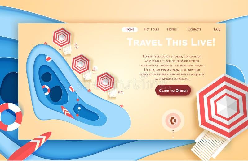Mall för design för konst för vektorwebbplatspapper tropisk strand för begreppsferie för strand brittisk toy för sommar för pass  royaltyfri illustrationer