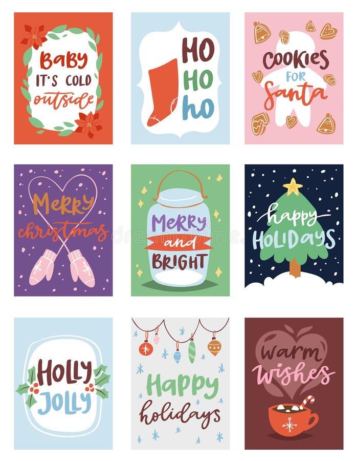 Mall för design för kort för vektor för invintation för julparti för året Santa Claus för clipart för beröm för noelXmas-ferie de vektor illustrationer