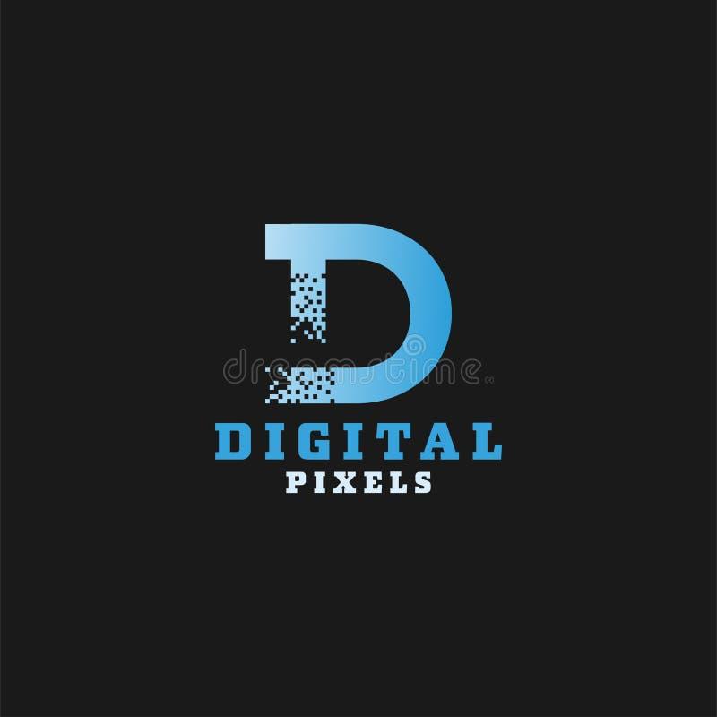 Mall för design för logo för PIXEL för Digital bokstav D stock illustrationer