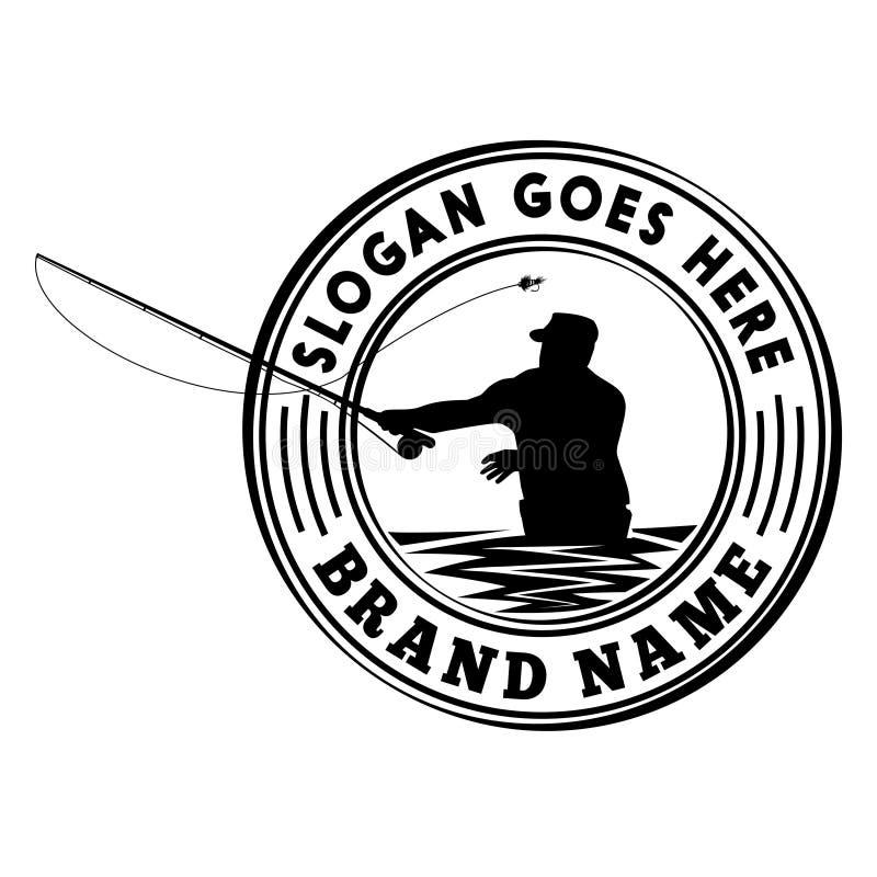 Mall för design för logo för turnering för flugafiske Vektor- och illustrationdesignmall royaltyfri illustrationer
