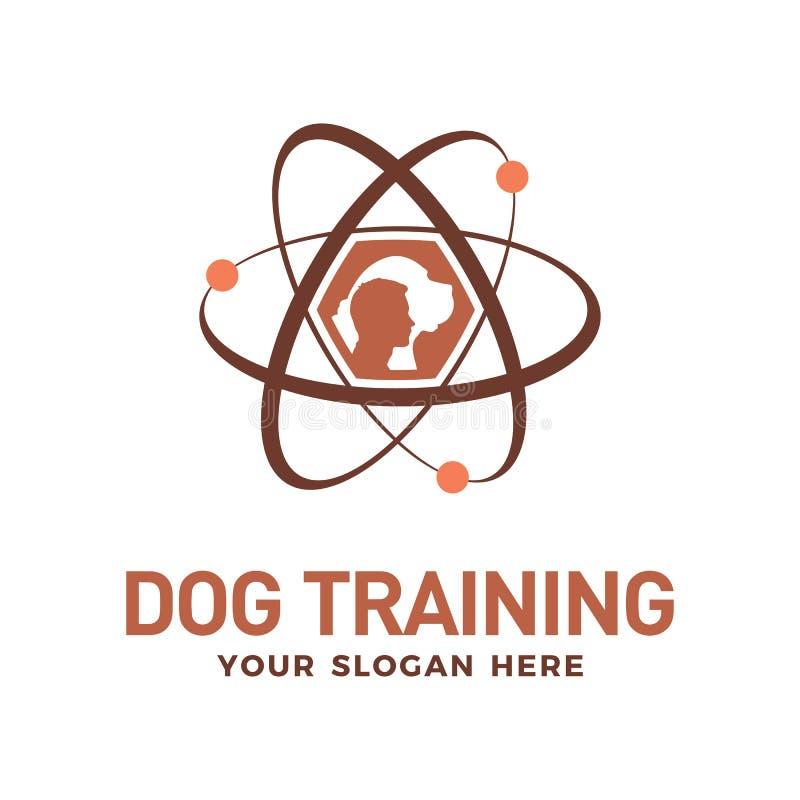 Mall för design för logo för vektor för hundutbildningsteknologi royaltyfri illustrationer