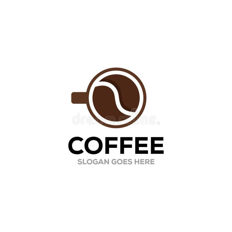 Mall för design för logo för vektor för kaffekopp Vektorcoffee shopetiketter vektor illustrationer