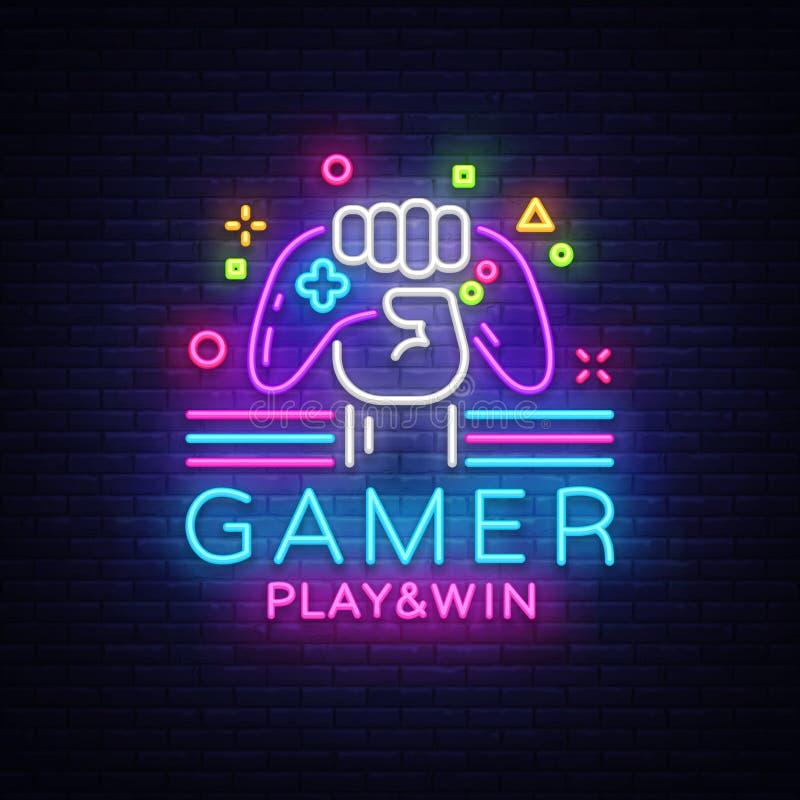 Mall för design för logo för vektor för tecken för neon för logo för Gamerlekseger Modig nattlogo i neonstil, gamepad i handen, m vektor illustrationer