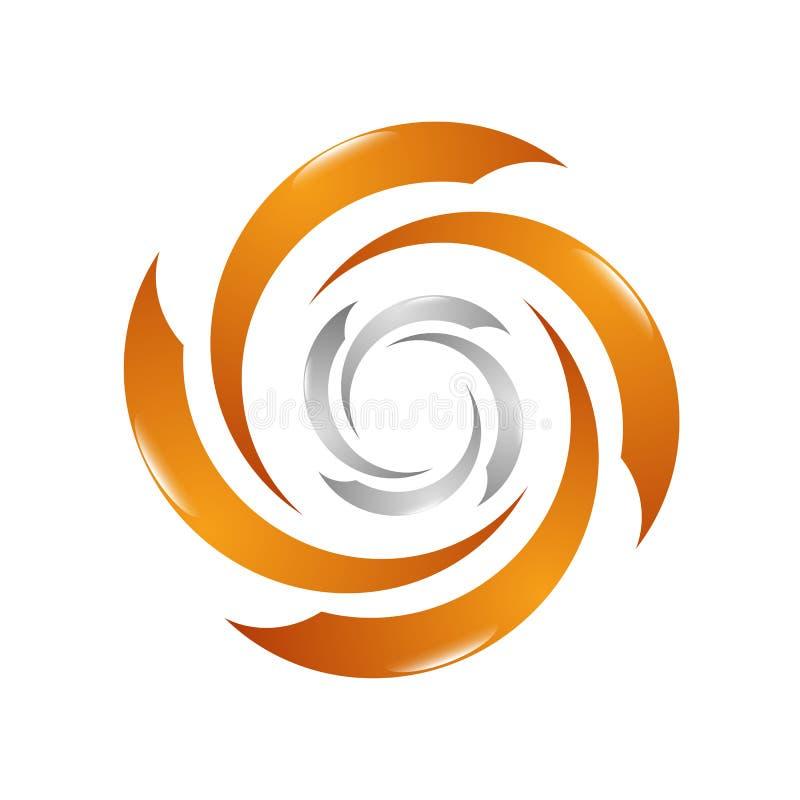 Mall för design för logo för vindturbin Betingande vektorsymbo för luft stock illustrationer