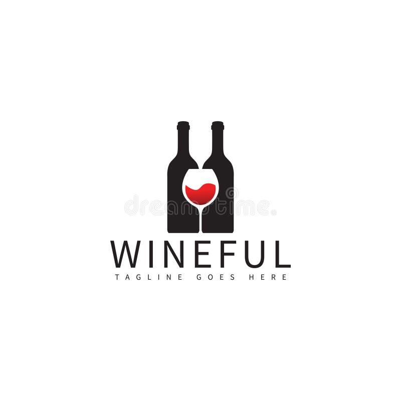 Mall för design för logo för vinflaska och exponeringsglas stock illustrationer